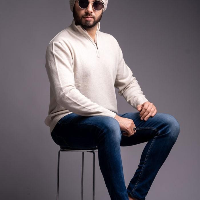 100% Pure Cashmere Gents half Zipper Pullover